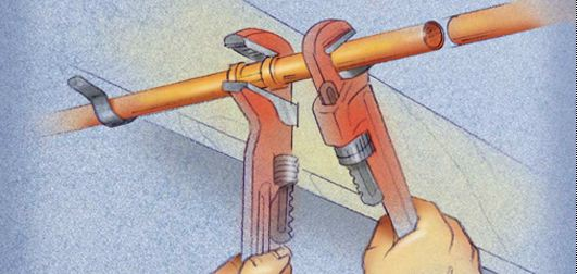 If there is a union near the damaged section of pipe, remove it using two pipe wrenches