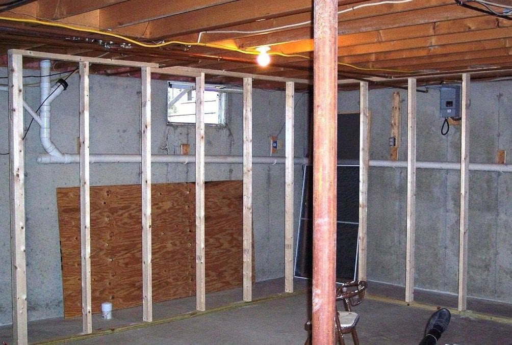 framing a basement wall around pipes pictures to pin on pinterest