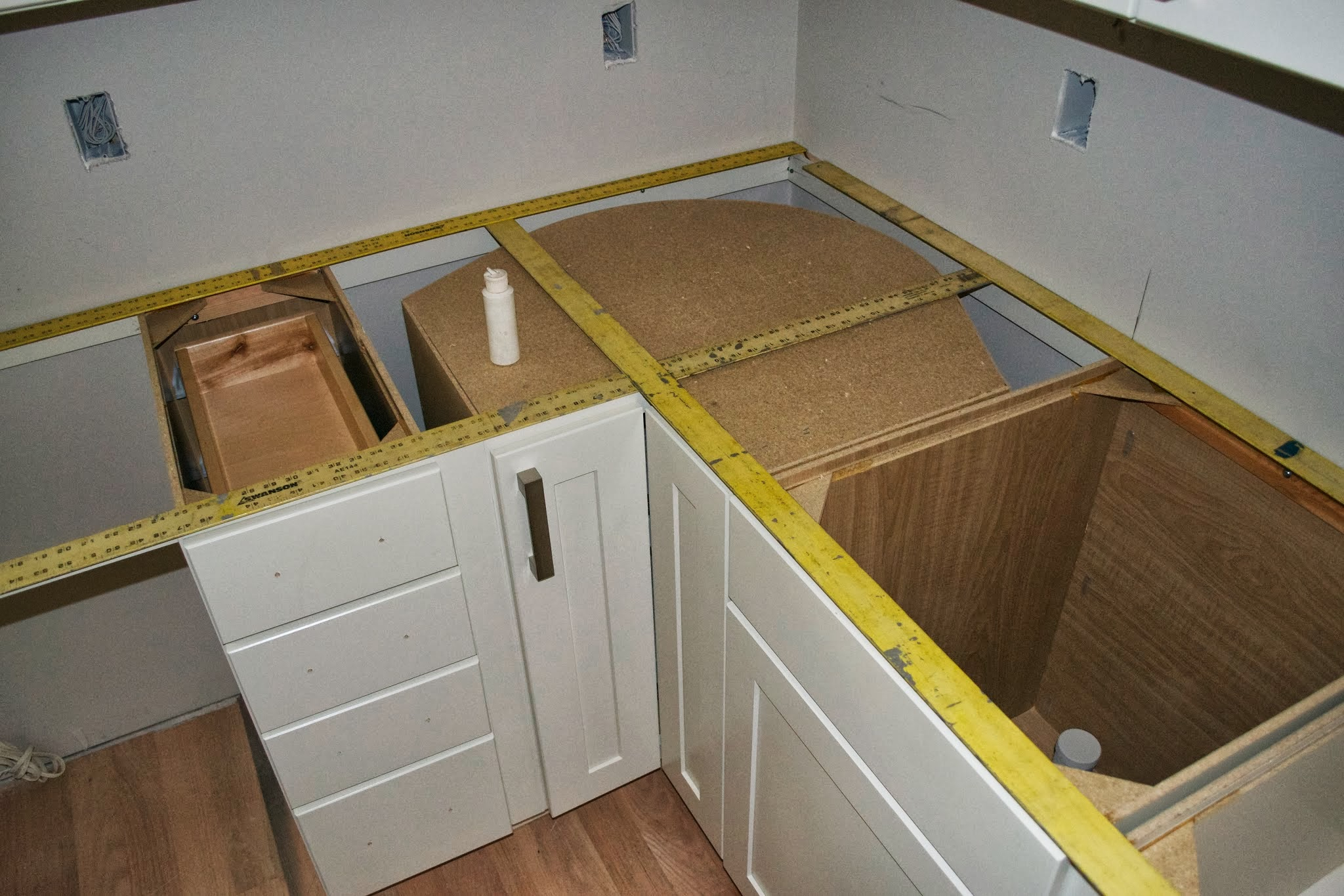 Countertop Template Material : Before beginning your countertop template, make sure all cabinets are ...