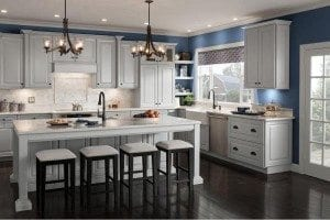 Classic cabinets from American Woodmark are now available in a gray stone finish.
