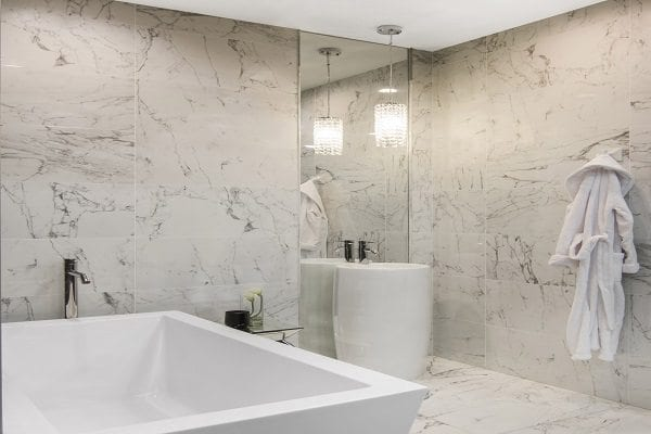 Trends in white tile for bathrooms