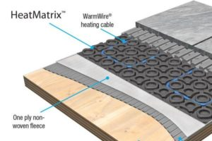 Among the SunTouch floor warming solutions, HeatMatrix eases installation while protecting tile and stone