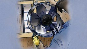 At a louvered opening in the attic, secure the fan