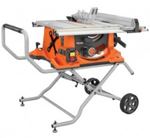 High-quality construction tools: RIDGID portable table saw with stand