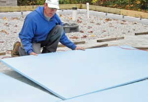 Extruded polystyrene (XPS) is the preferred product for insulating slabs