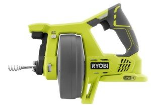 Cordless drain auger from Ryobi works with any Ryobi 18V One+ battery.