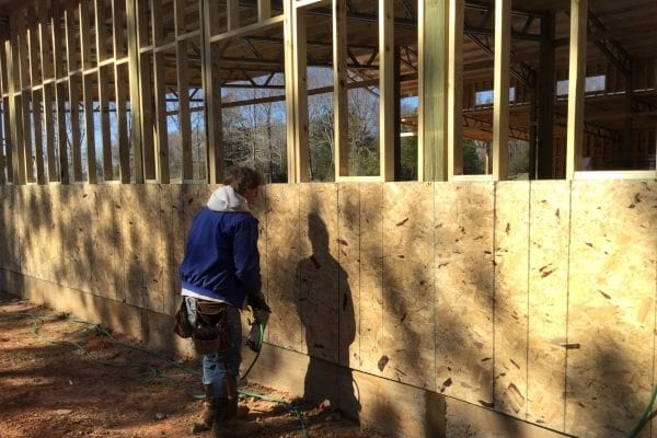 Installing plywood sheathing and house wrap for Sheathing house wrap