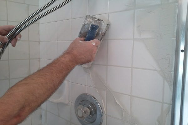 Re-grout a tiled shower