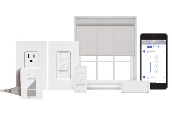 Lutron products control lights, shades and audio systems.