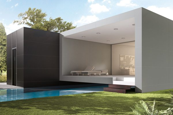 Large-format tile can be used outdoors to create a feeling of sweep and scale to compliment landscaping or terrain.