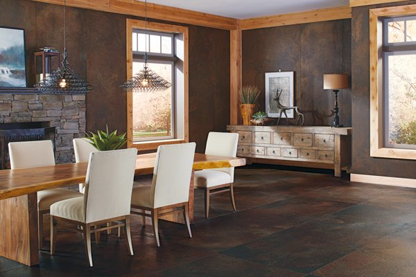 Thanks to the many types of patterns available today, large-scale tile can be used in smaller rooms as well, to emphasize lines while offering a warm, welcoming tone.