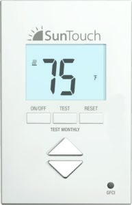SunStat Core provides simple up/down temperature control for electric floor heating systems.