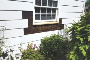 To repair wood siding sections of damaged siding were removed.