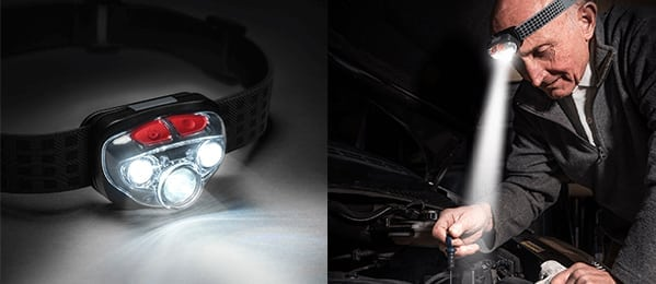 Work headlamps with up to 315 lumens in high mode