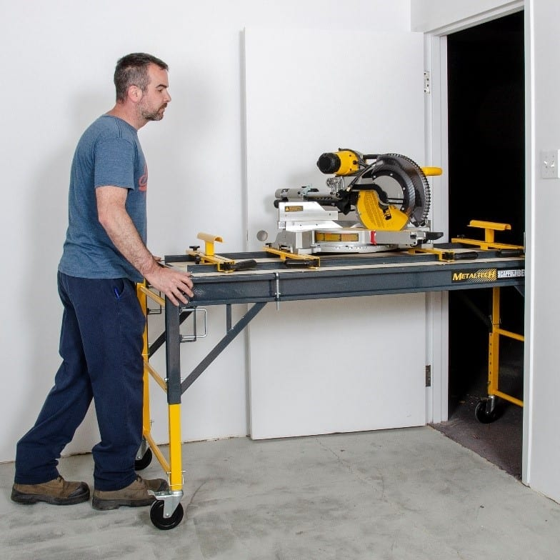 The four-in-one ScaffoldBench can be used as a cart to haul heavy, bulky items.